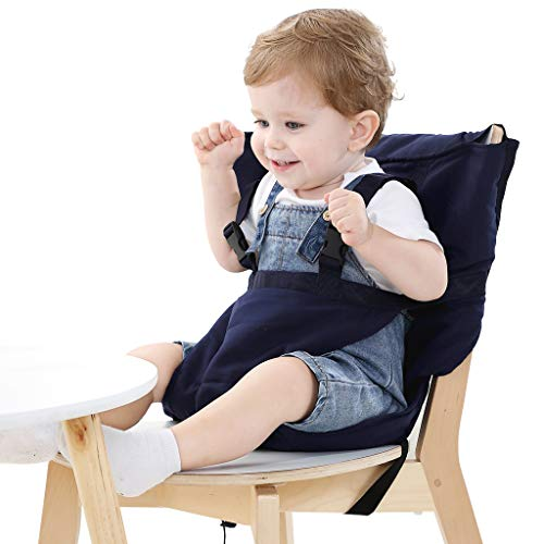 Easy Seat Portable Travel High Chair Safety Washable Cloth Harness for Infant Toddler Feeding with Adjustable Straps Shoulder Belt (Blue) (My Little Travel High Chair)