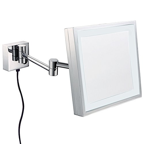 GURUN Wall Mounted Square Magnifying Mirror with LED Lighted,8.5 Inch,3x Magnification,Polish Chrome M1802D(8.5in,3x) by GURUN