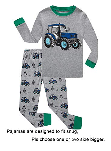 Tractor Little Boys Long Sleeve Pajamas 100% Cotton Pjs Toddler Size 2T -