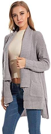 [해외]Sunnyadrain Women Autumn Winter Casual Solid Color Turn Down Collar Pocket Cardigan Sweater / Sunnyadrain Women Autumn Winter Casual Solid Color Turn Down Collar Pocket Cardigan Sweater Gray