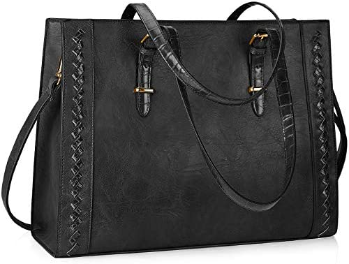 Laptop Bag for Women Waterproof Lightweight 15.6 Inch Leather Laptop Tote Bag Large Women Briefcase Professional Business Office Computer Work Bags Shoulder Handbag Black