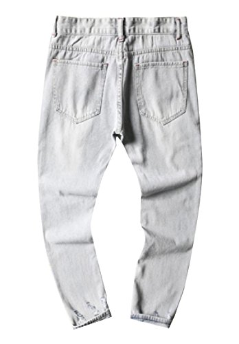 ANDYOU Men's Comfort Fine Cotton Casual Loose Holes Stylish Denim Pants White 3XL by ANDYOU-Men (Image #1)
