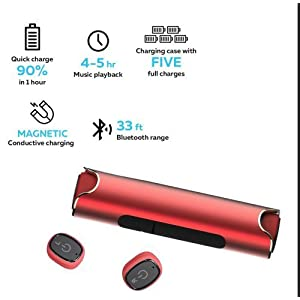 Diglot True Wireless Earbuds Bluetooth4.2 IPX7 Waterproof Best Passionate Sport Wireless Headsets with Stereo Noise Cancelling Anti-sweat Earbuds for Gym Running Charging Case for iPhone&Android (Red)