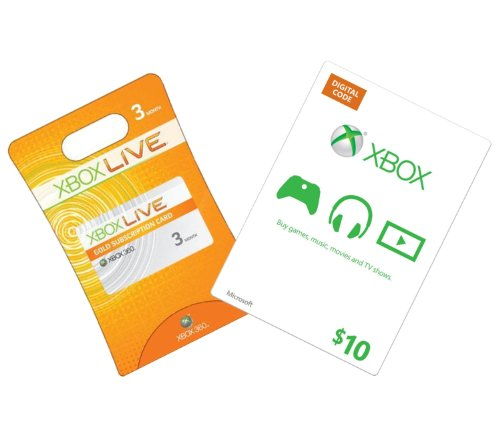 Xbox Live 3-Month Gold + $10 Xbox Gift Card - Xbox 360 Digital Code