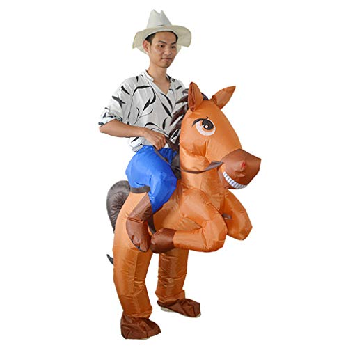 Unique Halloween Costumes For Horses (HUAYUARTS Men's Inflatable Costume Boys Ride Horse Blow up Brown Halloween Christmas Cosplay Fancy)