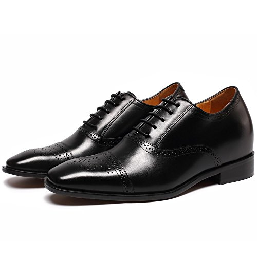 CHAMARIPA Herren Oxford Wingtip Elevator Schuhe Aus Kalbsleder Schnürhalbschuhe - 7 cm Höher - K6531 schwarz