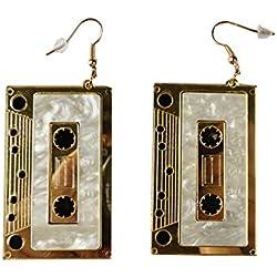 MIAIULIA Cassette Tape Dangle 1980s Style Costume Earring Gold Tape