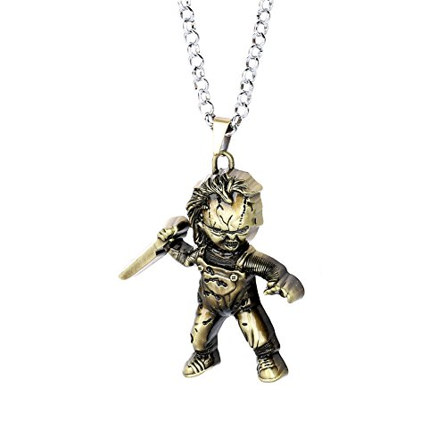 Lureme Child's Play Curse of Chucky Necklace Vintage Metal Doll Pendant Necklace-Anti Bronze (nl005848-2)