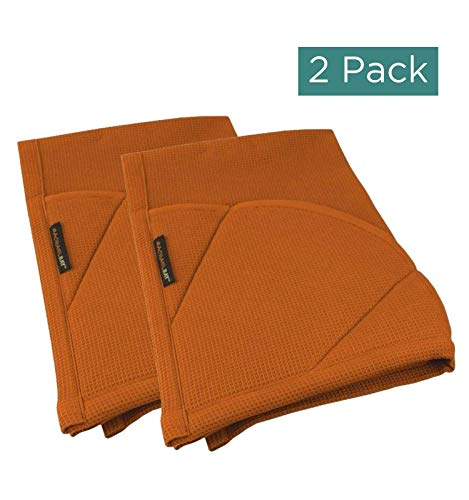 Rachael Ray Kitchen Towel, Oven Glove Moppine - 2-in-1 Ultra Absorbent Kitchen Towels with Heat Resistant Padded Pockets Like Pot Holders and Oven Mitts to Handle Hot Cookware - Burnt Orange, 2 Pack