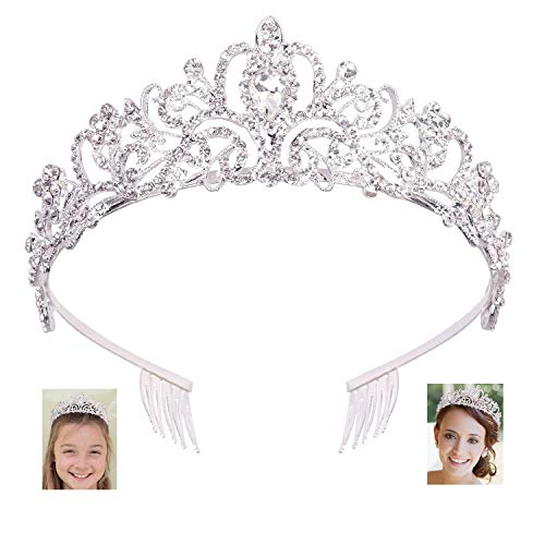 Araluky Crystal Tiara Crown Headband Princess Elegant Tiara with Combs for Women Young Ladies Bridal Wedding Prom Birthday Party, Silver