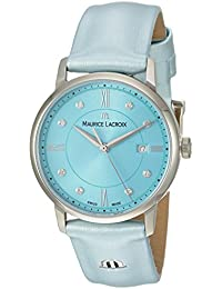 Women's 'Eliros' Swiss Quartz Stainless Steel and Leather Casual Watch, Color:Blue (Model: EL1094-SS001-550-1)