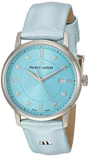 Maurice Lacroix Women's 'Eliros' Swiss Quartz Stainless Steel and Leather Casual Watch, Color:Blue (Model: EL1094-SS001-550-1)