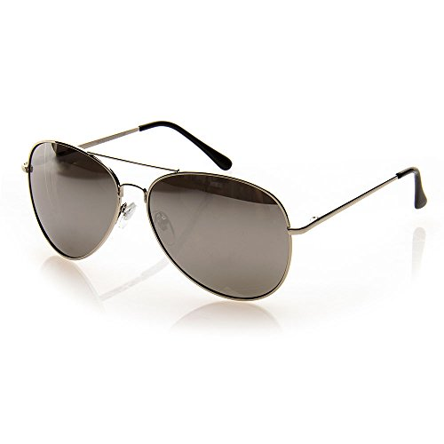 NYS Collection Eyewear Mercer Street Aviator Sunglasses, Silver Frame/Mirror - Nys Eyewear