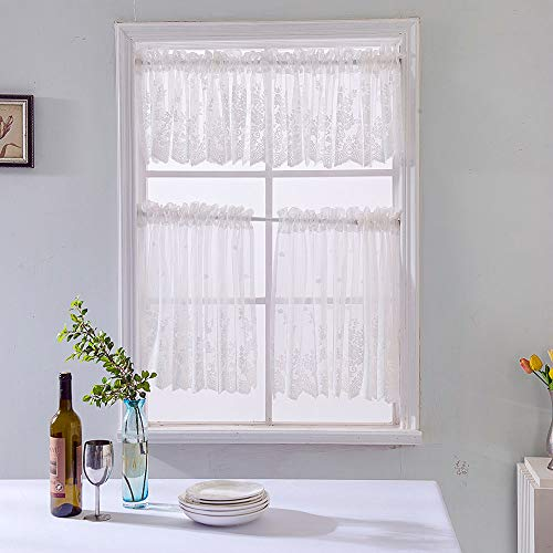 Hot Sale!DEESEE(TM)Waffle Woven Textured Valance for Bathroom Water Repellent Window Covering (White)