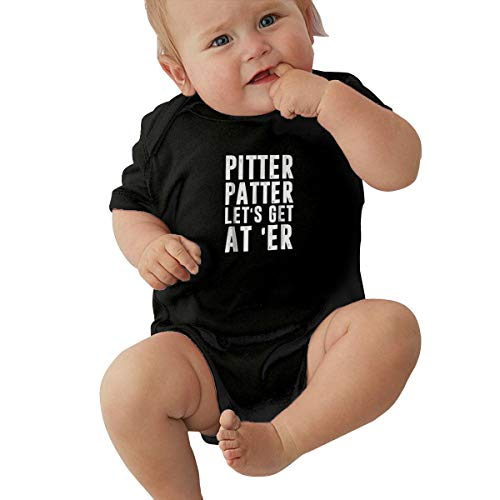 JAMESHALL Pitter Patter LetterKenny Casual Short-Sleeved Clothing for Babies and Children, Personal Clothing Black ()