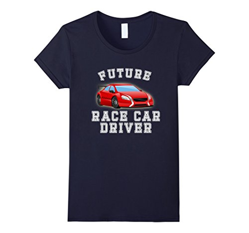 Female Race Car Driver Costumes (Womens Future Race Car Driver Costume T-Shirt for Adults and Kids Large Navy)