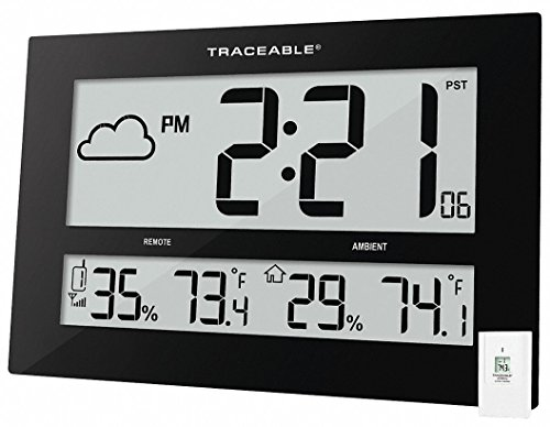 Control 1087 Traceable GIANT-DIGITS Radio Atomic Clock with Ambient/Remote (Atomic Calendar Alarm Clock)