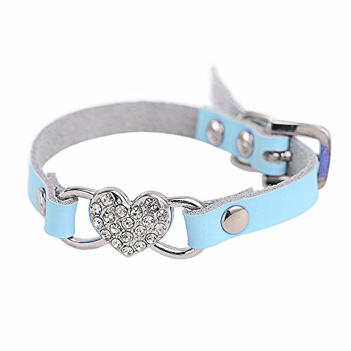 Glumes Pet Collar, Bling Crystal Diamond Peach Heart Pet Collar Cat Dog Necklace Safe Buckle Adjustable Strap for Dogs Cats Small Pets