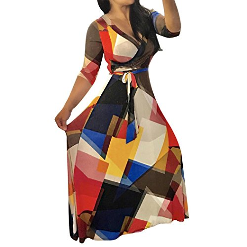 Dresses, Han Shi Women Summer Sexy Print Bandage Elastic Party Long Gowns Sundress Skirts (M, Black)