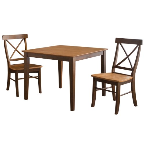 International Concepts 36 by 36-Inch Dining Table with X-Back Chairs, Set of 3