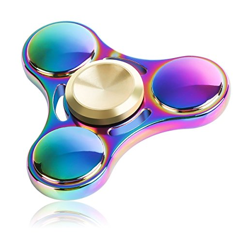 ATESSON Fidget Spinner Metal Hand Spinner, Mini Sized Tri-Spinner Colorful Stainless Steel Removable Bearing, Cool EDC Spinners High Speed 3-5 min Spins Time with 1 Screwdriver and 1 Extra Bearing