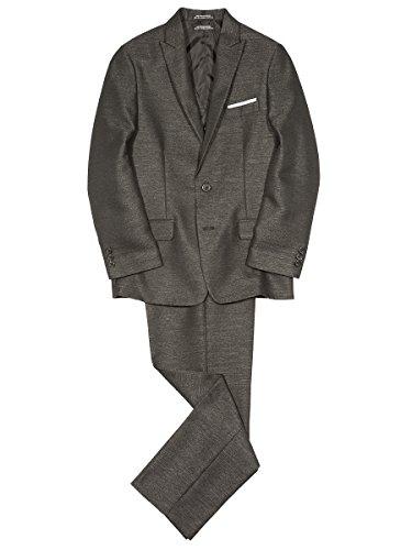 Steve Harvey Boys' Big Three Piece Suit Set, Black Herringbone, 12