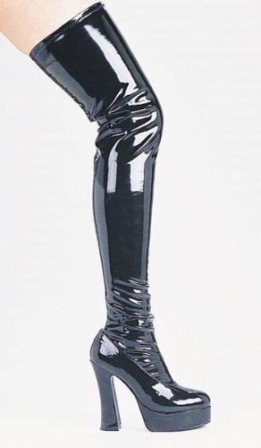 Women's Shoes 5 Inch Chunky Heel Thigh High Stretch Boots -