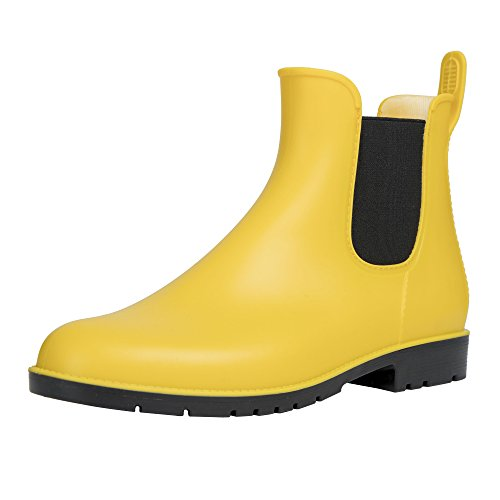 Yellow Side Panels - Asgard Women's Short Rain Boots Waterproof Slip On Ankel Chelsea Booties YL39