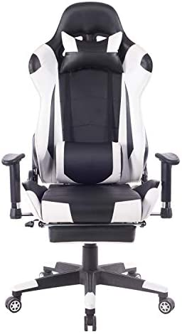 KCREAM Racing Office Computer Chair E-Sports Game Chair Gaming Chair Ergonomic Footrest and Seat Height Adjustment Recliner Swivel Rocker with Lumbar Support Pillow and Headrest White Grey