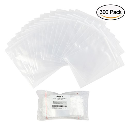 Becko 300 Count 4 Mil 3'' x 4'' Zip Lock Plastic Clear Poly Bags for necklet, Food, metal accessories, Waterproof Zipper Pouch for Small Items or Luggage Packing - XS by Becko