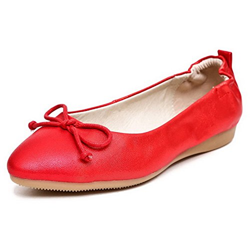 A Voguezone009 Punta Donna Tacco Tirare Lucido Puro Rosso Scarpe Senza Chiusa Tessuto Ballerine rwBY1qr