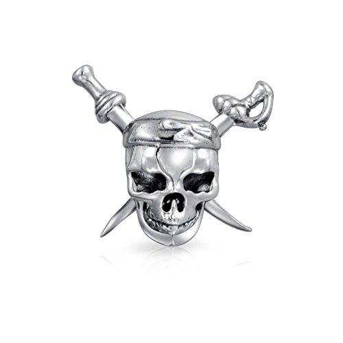 (Caribbean Pirate Skull And Cross Swords Charm Bead For Women For Teen 925 Sterling Silver Fits European Bracelet)