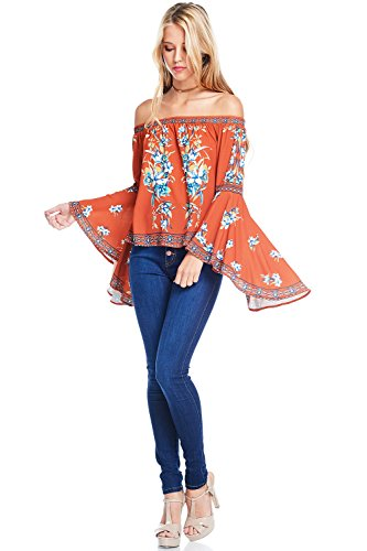 Flying Tomato Women's Off Shoulder Top w Big Bell Sleeves (S, Rust) (Flying Tomato Blouse)