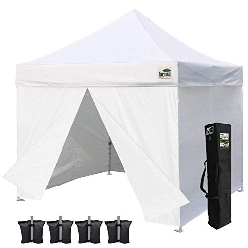 Eurmax 10 x 10 Pop up Canopy Commercial Tent Outdoor Party Shelter with 4 Zippered Sidewalls and Carry Bag Bonus Canopy Sand Bags