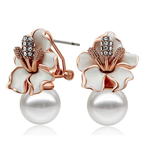 Kemstone Pearl and Flower Stud Earrings Rose Gold Pearl Earrings for Women