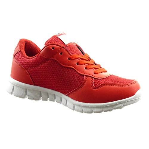 Sopily - Chaussure Mode Baskets Bi-matière Cheville femmes Talon bloc 2.5 CM - Rouge