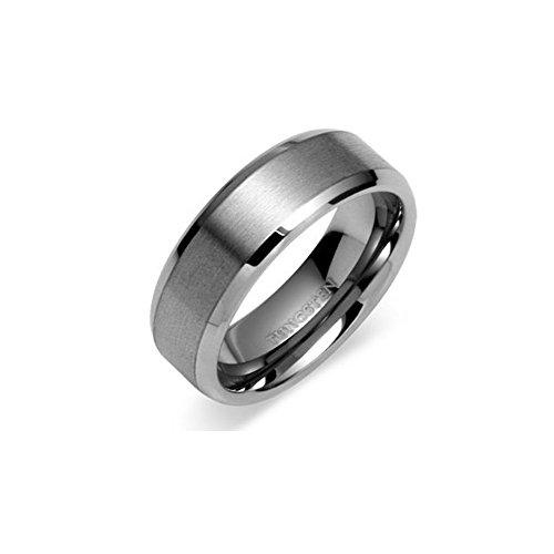 Oceanus Tungsten Carbide Wedding Band Ring for Men Women Polished Beveled Edge Matte Brushed Finish Comfort Fit 6mm or 8mm width (6mm width Tungsten Carbide, 9.5)