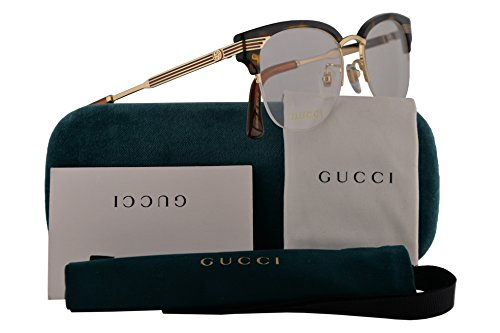 Gucci GG0201O Eyeglasses 50-18-140 Havana Gold w/Demo Clear