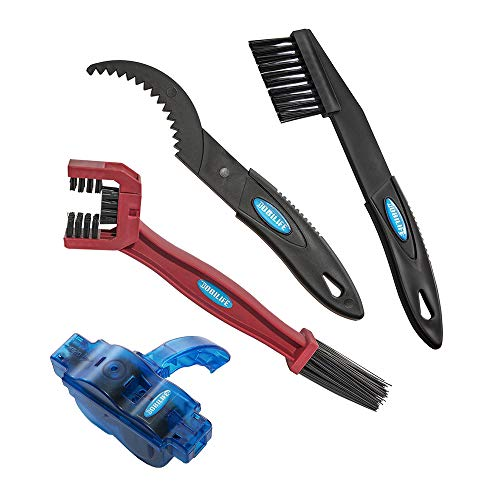 BOBILIFE Bicycle & Motorcycle Chain Cleaner Tool - Maintenance Kit -Gear Chain Cleaner, 4 Tools (Red with Scrubber)