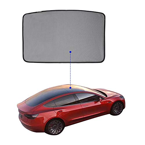 TOPlight Tesla Model 3 Glass Roof Mesh Sunshade/Overhead Roof Sunshade Auto Sunshade, Custom-Fit Roof Window Sunshades Compatible Tesla Model for Tesla Model 3 (1 Front of Set, Black)