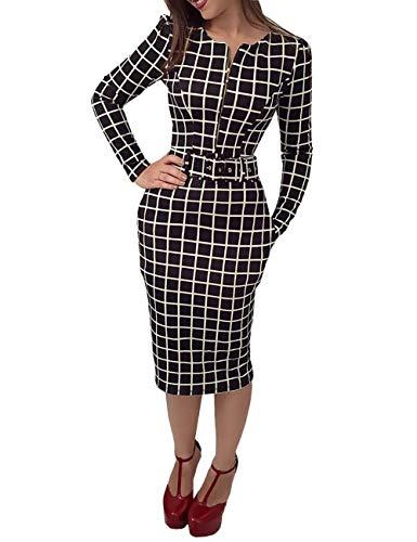 Ninimour Women Grid Long Sleeve Zipper Up Belted Dress M Black