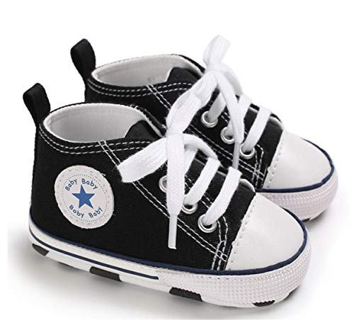 Togudot Unisex Baby Boys Girls Star High Top Sneakers Soft Anti-Slip Sole Infant First Walkers Canvas Shoes 0-18 Months - Unisex Footwear Sneakers