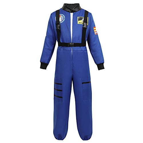 Halloween Astronaut Costume for Kids Role Play Child NASA Flight Jumpsuit Costumes Blue L
