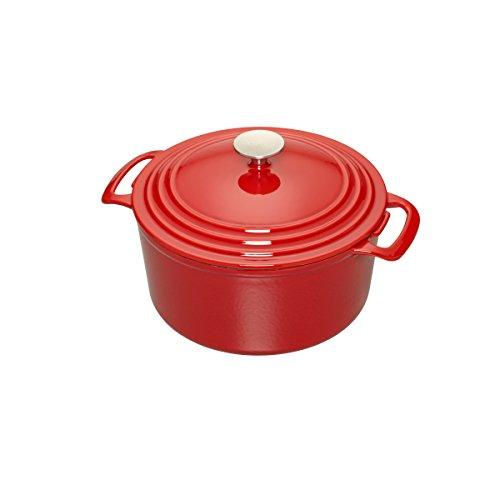 Cooks Enameled Cast Iron 5.5 quart Dutch Oven, Medium, Red
