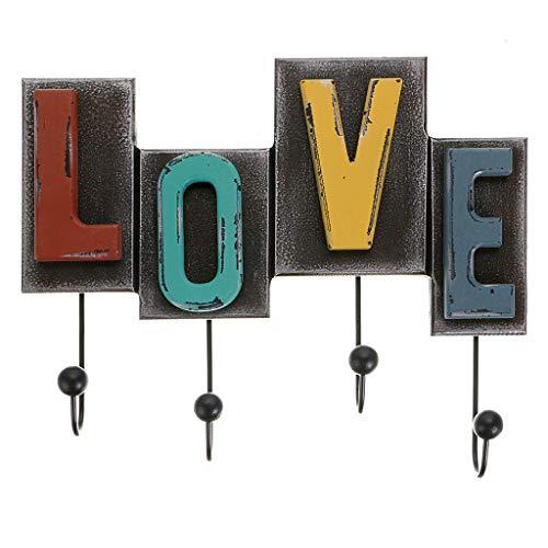 OwnMy Rustic Retro Style Wall Decor Hooks Vintage Coat Rack Wood Love Letter Design Decorative Wall Mount Coat Hanger Hooks (Love Hook)