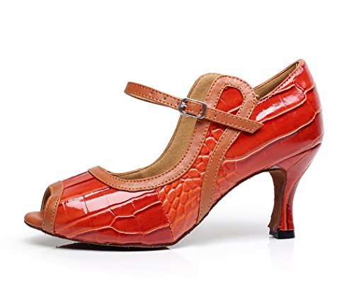 TDA Womens Mary Jane Striped Design Latin Dance Shoes Orange pt2gE6cN