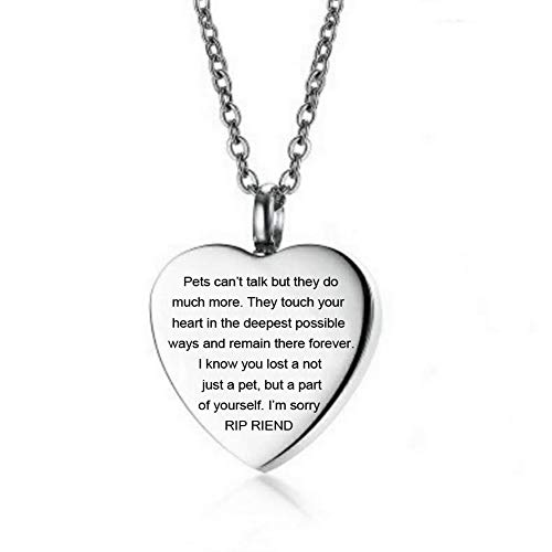 LF Stainless Steel Personalized Cremation Jewelry for Dog Cat Pets,Cremation Necklace Locket Memorial Urn Keepsake Jewelry for Ashes Sentiment Motivational RIP Engraved Heart Pendant,Engraving