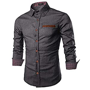 Fashion Shopping COOFANDY Men's Casual Dress Shirt Button Down Shirts Long-Sleeve Denim Work