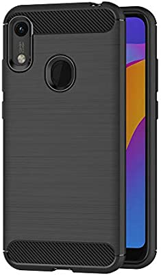 AICEK Funda Honor 8A / Huawei Y6 2019, Negro Silicona Fundas para Honor 8A Carcasa Huawei Y6 2019 Fibra de Carbono Funda Case (6,09 Pulgadas)