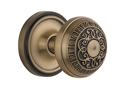 Nostalgic Warehouse BN10-CLAEAD-AB Classic Rosette with Egg and Dart Knob Passage, Antique (Brass Classic Rosette)